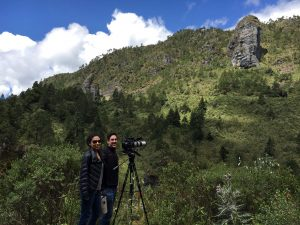 Journalists Daffodil Altan, left, and Andrés Cediel, right, in the Guatemalan highlands.